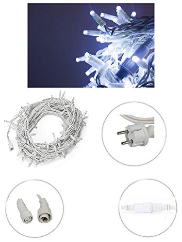 Vetrineinrete® Luci natalizie led per esterno prolungabile serie da 180 led luce bianca catena luminosa 18 metri filo bianco in gomma addobbi e decorazioni natalizi P39