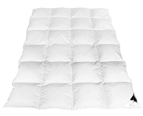 Warme Bettdecke Daunenbettdecke Steppdecke flauschige Daunendecke Kassettenbett Aus weißen Daunen und Federn Naturprodukt Winter Innensteg Made in Europe (135x200cm - 1600gr.)
