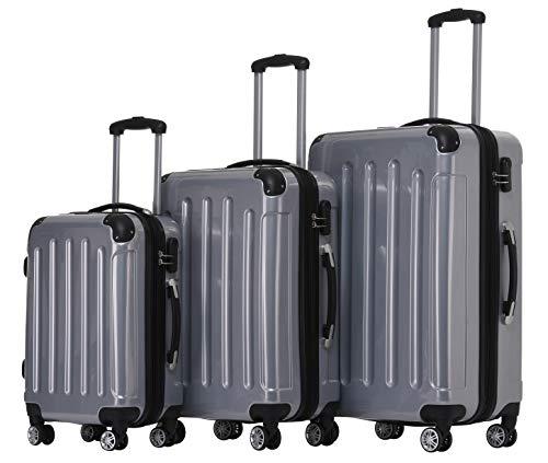 BEIBYE Zwillingsrollen 2048 Hartschale Trolley Koffer Reisekoffer in M-L-XL-Set in 15 Farben (Silber, Set)