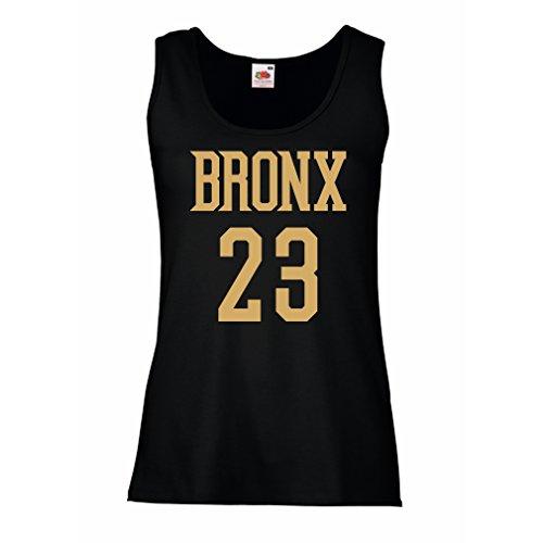 Serbatoio,Maglietta senza maniche femminile Bronx 23 - Moda in stile di strada Nero Oro