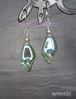Boucles d'oreilles acier inoxydable, perles verre vert transparent AB torsadé, boucles chic, élégantes, soirée, mariage BOA261