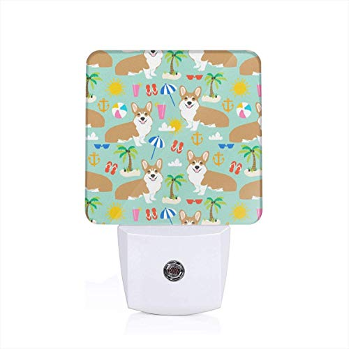 Led Night Light Beach Corgi Cute Summer Palm Tree Flip Flops Dogs Cute Palms Auto Senor Dusk to Dawn Night Light Plug in for Baby, Kids, Children's Room