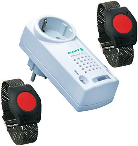 Eldat Pflegeruf-Set für Zwei Senioren, Hausnotruf mit 2 x Funk-Notruf-Armband für Altenpflege, Krankenpflege, häusliche Pflege