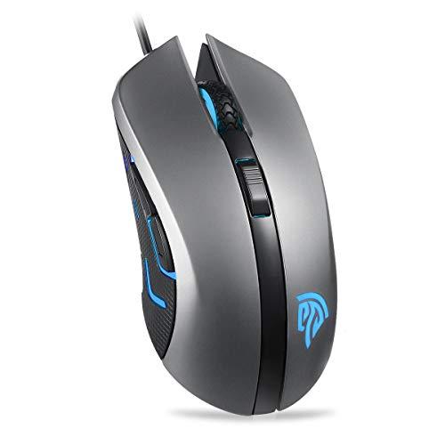 EasySMX Gaming Mouse, Mouse da Gioco SI-9031 Mouse Ottico da Gioco Cablato, Commutazione DPI 3200 DPI al Volo, 4 Pulsanti Programmabili, Macro, Luce di Respiro per PC, Laptop