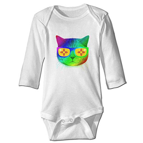 WBinHua T-Shirts für Baby-Jungen,Mexico Flag Sun Kitty Kitten Meow Sunglasses Baby Toddler Long Sleeve Onesies Bodysuits