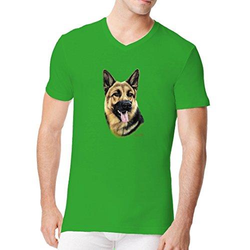 Im-Shirt - T-Shirt Motiv: Deutscher Schäferhund cooles Fun Men V-Neck - verschiedene Farben Kelly Green