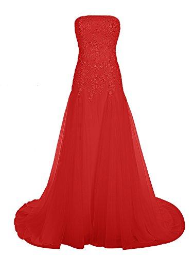 Find Dress Bustier Robe sans Manches Soirée Grande Taille pour Cérémonie Femme Mariage avec Broderie Floral Robe de Bal Longue Princesse Fête Noel Wedding Dress Multicouche Tulle Rouge