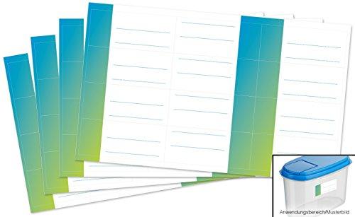 Kigima 48 edle Aufkleber Sticker Klebe-Etiketten Leer 7x3cm rechteckig blau-grün Ombre-Look perfekt für Geschenke, Hochzeit oder Tischdeko Leer Eingelegte Gläser