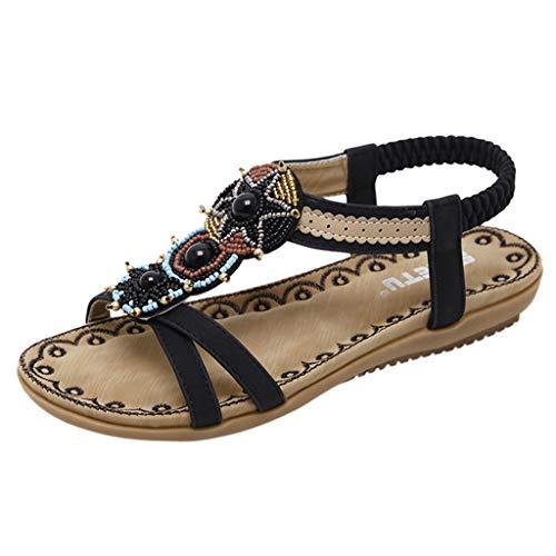 Damen Flach Sandalen Sommer Bohemia Frauen Mädchen Böhmischen Mode Flache Beiläufige Sandalen Strand Sommer Flache Schuhe Frau Geschenk (EU:35, Schwarz)