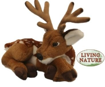 living-nature-28cm-plush-soft-toy-lying-deer-with-antlers