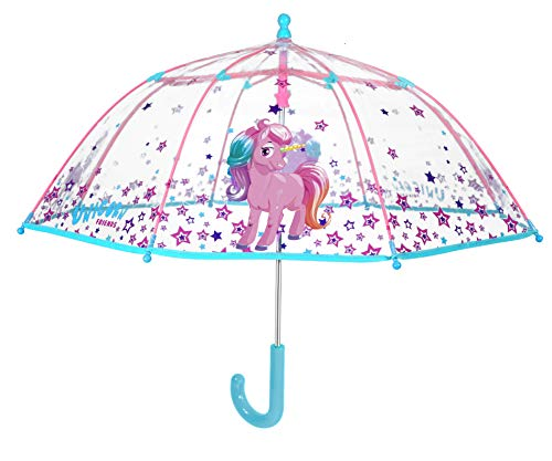 PERLETTI Paraguas Unisex 42cm Manual Transparente Unicornio de \'Cool Kids\' Paraguas Clásico, 80 cm