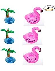 Aufblasbarer Getränkehalter, 6Stück Untersetzer Getränkehalter Schwimmbad Float Beach Party Kids Bad 3Palmen 3Flamingo