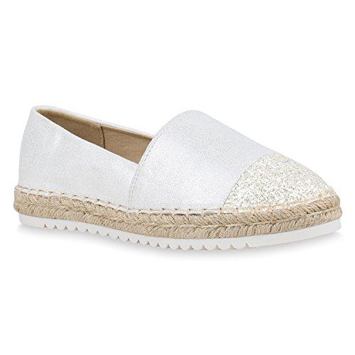 Stiefelparadies Damen Schuhe Bast Slipper Profilsohle Espadrilles Glitzer Zehenkappe 156239 Weiss 36 Flandell