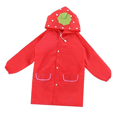 F Fityle Autumn Winter Kids Toddler Hooded School Backpack Rain Ponchos Jacket Raincoat