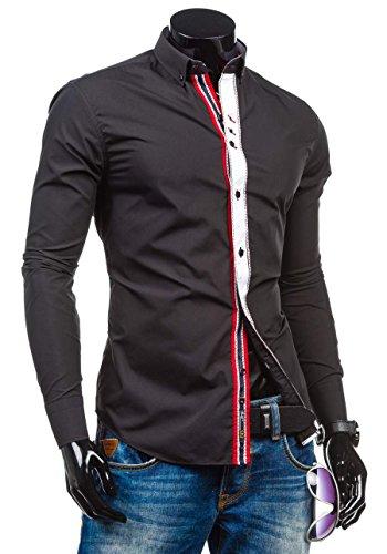 BOLF – Chemise casual – avec manches longues – BOLF 5827 – Homme Noir