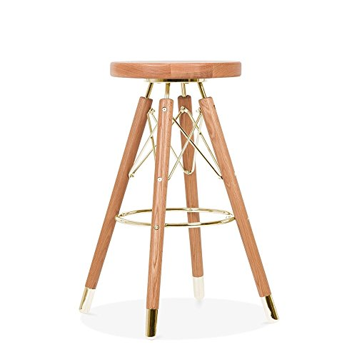 Cult Design Tabouret de Bar Moda CD3, Bois Massif, Naturel 65cm