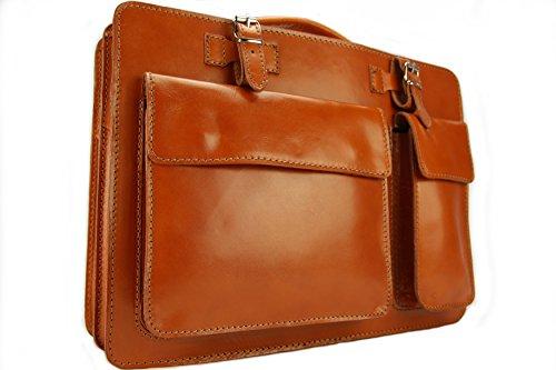 Business- und Laptoptaschen Italienische Luxus Aktentasche L (Orange) -