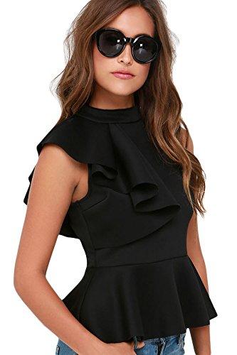 new-ladies-black-asymmetric-ruffle-peplum-top-club-wear-tops-casual-wear-clothes-size-s-uk-8-10