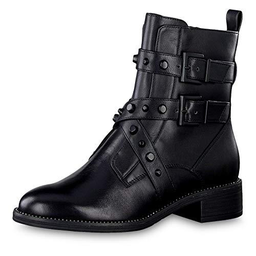 Tamaris Damen Stiefeletten 25415-23, Frauen Biker Boots, halbstiefel Bikerstiefelette Nieten Damen Frauen weibliche Lady,Black/Studs,41 EU / 7.5 UK
