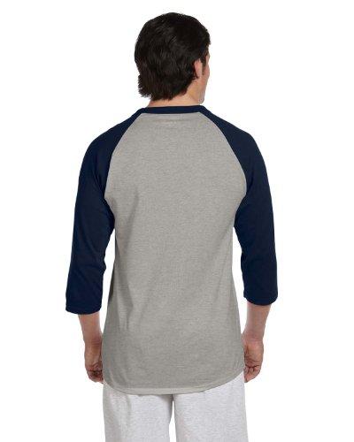 Champion 5.2 OZ. Raglan Baseball T-Shirt Oxf Gry/Navy