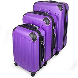 Todeco - Juego de Maletas, Equipajes de Viaje - Material: Plástico ABS - Tipo de Ruedas: 4 Ruedas de rotación de 360 ° - 51 61 71 cm, Púrpura, ABS, Esquinas protegidas