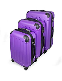 Todeco - Juego de Maletas, Equipajes de Viaje - Material: Plástico ABS - Tipo de ruedas: 4 ruedas de rotación de 360 ° - Esquinas protegidas, 51 61 71 cm, Púrpura, ABS
