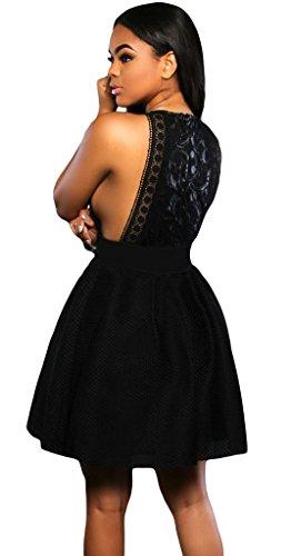La Vogue Robe Patineuse Court Évasé Épaule Nu Sans Manche Soirée Mariage Noir