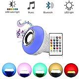 Chnaivy ampoule LED Musique enceinte Bluetooth stéréo sans fil, RGB Smart Musique ampoule avec télécommande 24touches