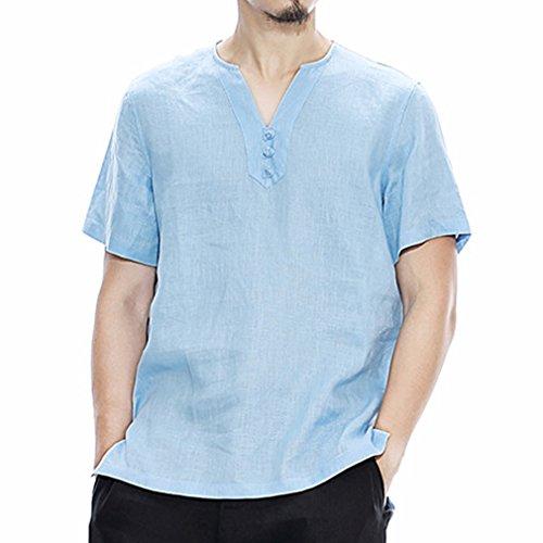 Honghu Herren Pankou Taste Kurze Ärmel T-shirt Blau