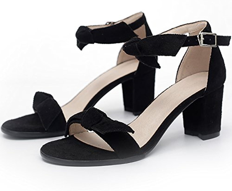 YMFIE Simple moda verano Sweet Lady's bow toe sandalias tacones bolas de boda,37,a la UE -