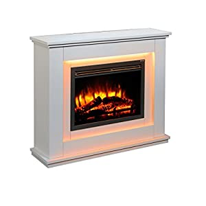 Chimenea eléctrica Castleton Suite de vidrio frente a fuego eléctrico 220/240 Vac, 1 & 2KW, 7 días de control remoto…