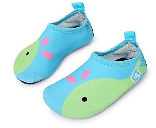 Wassersportschuhe Kinder Unisex Wasserschuhe mit Witzigen Motiven Schnelltrockende Strandschuhe Badeschuhe Surfschuhe Aquaschuhe für Jungen und Mädchen Himmelblau