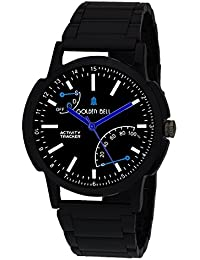 Golden Bell Original Sporty Black Dial Black Steel Chain Analog Wrist Watch For Men - GB-995