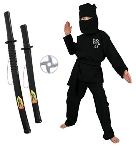 KarnevalsTeufel Kinderkostüm-Set Ninja 4-teilig Kostüm in schwarz, rot oder grün mit Wurfscheibe und 2 Spielzeug-Schwertern in schwarz (Schwarz, 140)