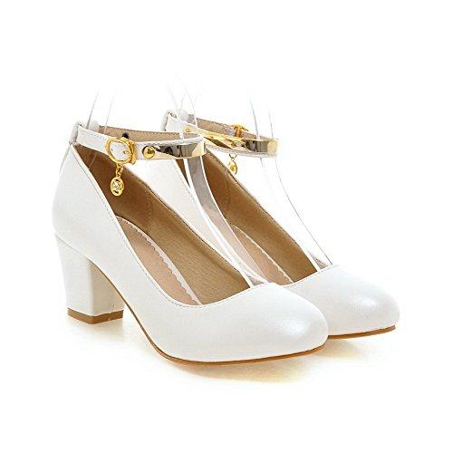 VogueZone009 Femme Rond Boucle Couleur Unie à Talon Correct Chaussures Légeres Blanc