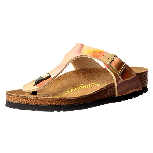 BIRKENSTOCK Classic Gizeh Birkoflor -Standard Fitting Buckled Toe Post Thong Style - Flip Flop Sandal Ice Pearl Onyx UK4 - EU37 - US6 - AU5 Mirror Rose Gold - Rose Gold Mirror