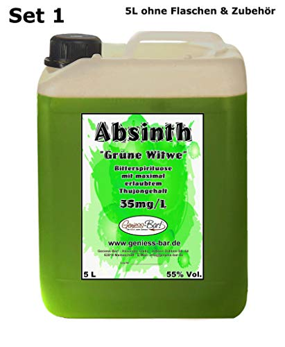 Absinth Die Grüne Witwe 5L Testurteil SEHR GUT(1,4) Mit maximal erlaubtem Thujon 35mg 55{83f34a4f5e1cd83f6f290c955743d5bad317249b6a669a6c7a546b0e6f6a9682} Vol