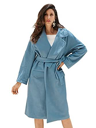 Simplee Apparel Damen Mäntel Winter Herbst Elegant Lang Warm Filz Wolle Mantel Outerwear mit Gürtel Blau