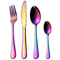 HOMQUEN Set de cubiertos de colores de 16 piezas, Set de cubiertos de acero inoxidable