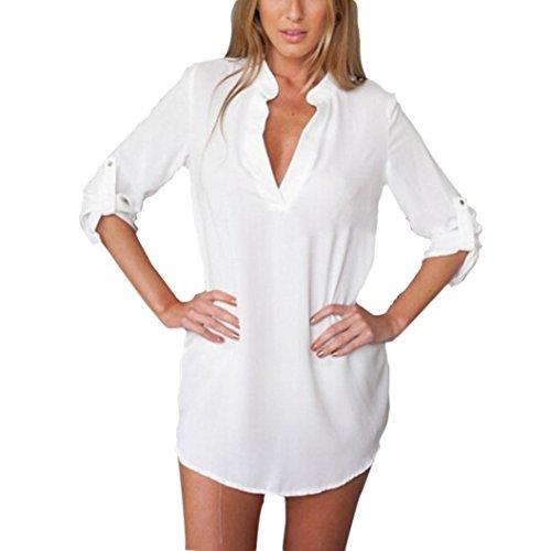Damen Langarm Bluse,Honestyi 2017 Mode off Damen Bluse Chiffon Langarm Damen T-shirt Casual Bluse Tops (L, Weiß)