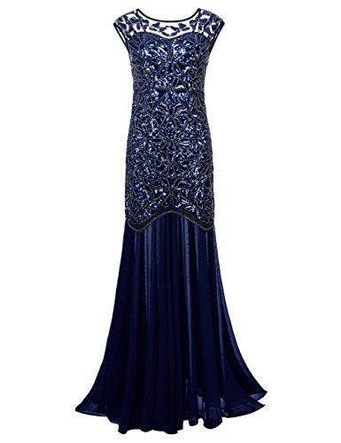 kayamiya Damen 1920er Jahre Perlen Pailletten Floral Maxi Lange Gatsby Flapper Abendkleid 36-38 Blau