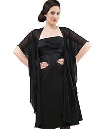 Mousseline Boléro parfaitement à tout robe du soir, ne glisse pas - NOIR - BLANC - IVOIRE - BLEU VONCÈ - ROSÈ - env. 245 cm de long - Taille unique