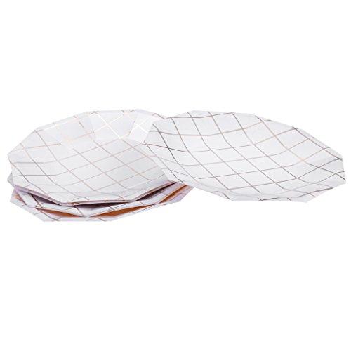 SunniMix Stücke Von 8 Einweggitter Folie Papierschalen Pappteller Baby Shower Geburtstagsparty Serviergeschirr Set - 18cm Pappteller -