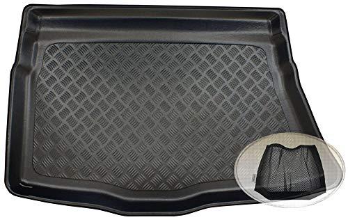 ZentimeX Z3326428 Geriffelte Kofferraumwanne fahrzeugspezifisch + Klett-Organizer (Laderaumwanne, Kofferraummatte)