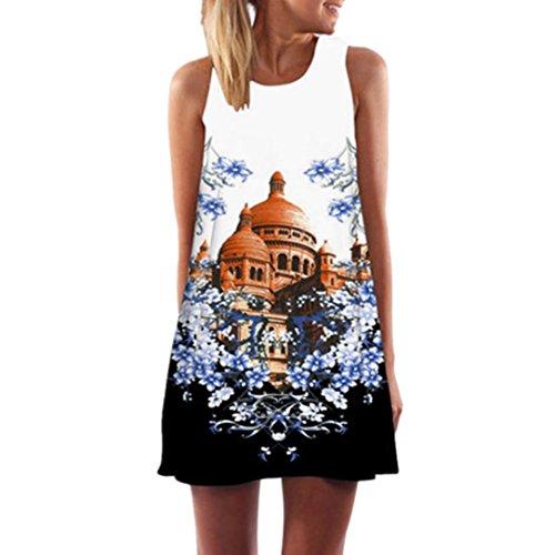 Elecenty Damen Ärmellos Sommerkleid Minikleid Strandkleid Partykleid Rundhals Rock Mädchen Blumen Drucken Kleider Frauen Mode Kleid Kurz Hemdkleid Blusekleid Kleidung (M, Schwarz A)