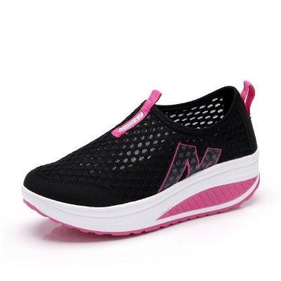 Été de sexe féminin a secoué ses baskets chaussures mesh respirant surface épaisse semelle plate-forme pied occasionnel Black
