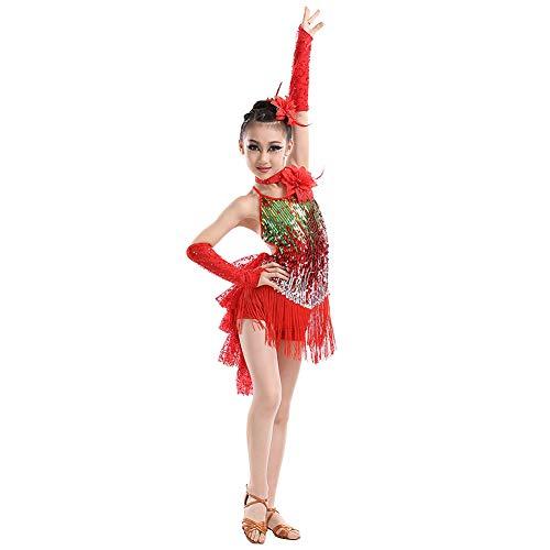 Huatime Latein Tanz Kleider Röcke Mädchen - Kinder Franse Pailletten Kleider Bekleidung Tanzkleid Kostüm Turnierkleid Salsa Tango Kleid Samba Rumba Ballroom Cha ()