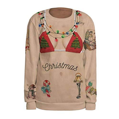 TIFIY Damen Weihnachten Pullover, Frauen Winter 3D Print -