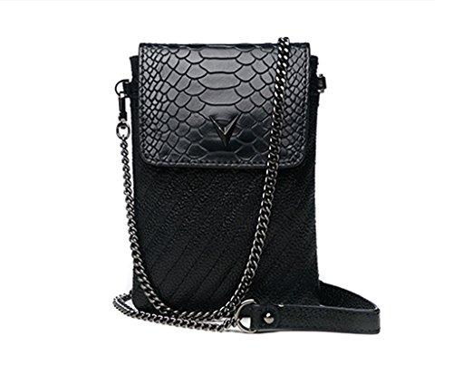 Home Monopoly Sacchetto del messaggero della borsa di estate femminile del sacchetto del telefono con la cinghia di spalla ( Colore : Gray black ) Nero