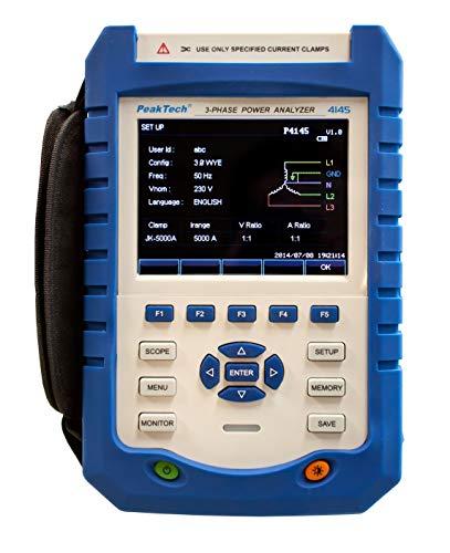 PeakTech P 4145 3-Phasen Netzanalysator/Leistungsmessgerät/Power Analyzer ~ mit LAN, USB, TFT-Anzeige und Datenlogger -
